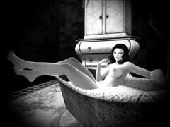 Untitled (::Monsta:: Poses & Shapes) Tags: firestorm secondlife sl backdropcove sexy deelovedelicioso bathe nude tub curvy blackandwhite