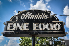 Aladdin Fine Food (tim.perdue) Tags: newark ohio small town downtown square city urban decay street alley building licking county courthouse nikon d5600 nikkor 18140mm detail sign store storefront shop