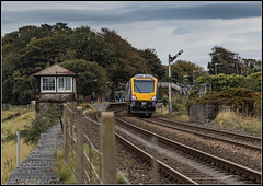 Arnside departure (Blaydon52C) Tags: caf northern arriva class195 dmu railway rail railways signals signalbox cumbria cumberland cumbriancoast arnside 195125 1c53 railroad trains train transport