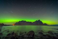 Star trails under Northern Lights , Stoksness , Iceland (Anton Calpagiu) Tags: northernlights auroraboreal vestrahorn hofn stoksness laowa leofoto nikonz7 stars startrails nightscape seascape iceland