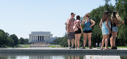 Tourists visit the National Mall - Washington D.C.
