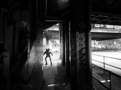 running wild and free (Renate R) Tags: berlin blackwhite yorckstrase child bridges brücken wild free boy