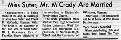 1973 - Joan Suter marries Frank McCrady - South_Bend_Tribune_Fri__Aug_24__1973_