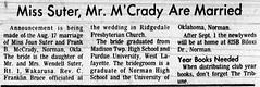 1973 - Joan Suter marries Frank McCrady - South_Bend_Tribune_Fri__Aug_24__1973_