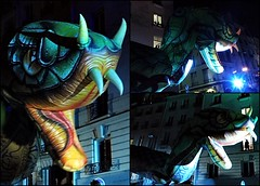 5 - Paris - Nuit Blanche et entours - Parade, Les Plasticiens Volants - De nos rêves, occupons le ciel (melina1965) Tags: octobre october 2019 îledefrance paris panasonic lumix dmctz57 nuitblanche mosaïque mosaïques mosaic mosaics collages collage 4earrondissement 75004 lumière light nuit night sculpture sculptures
