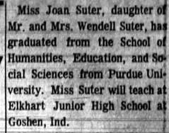 1965 - Joan Suter becomes teacher - South_Bend_Tribune_Wed__Sep_1__1965_