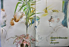 Coffee at Sacred Grounds while rain beat down on the glass arcade roof (Happy Sketcher) Tags: sketch urbansketch sketchbook drawing illustration colouredpencils café people