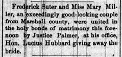 1878 - Fred Suter marries Mary Miller - South Bend Tribune - 17 Oct 1878