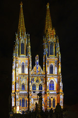 Illuminated (the-father) Tags: lightshow dome gothic anniversary regensburg upperpalatinate oberpfalz bavaria germany night light color people