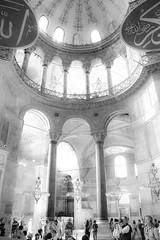 Light in the Agia Sofia, Istanbul (adrianscott92) Tags: architecture historical blackandwhite lightanddark tourist nikonphotography nikon religion turkey istanbul nikkor city interior