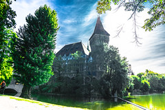 Vajdahunyad Castle, Budapest, Hungary (BirthofSamuel) Tags: sigma16mm14 sonyalpha a6000 a6000photography photography castle ancient trees water lake sky unique picturesque budapest hungary sigmalens