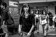 Tokyo 2019 (burnt dirt) Tags: shibuya tokyo japan asia japanese asian candid documentary street photography downtown metro urban city scramble crossing outdoor people person fujifilm xt3 fujinon 50mm f2 bw blackandwhite monotone monochrome woman girl smile laugh train station style fashion life real crowd tourist nippon emotion expression portrait close eye contact