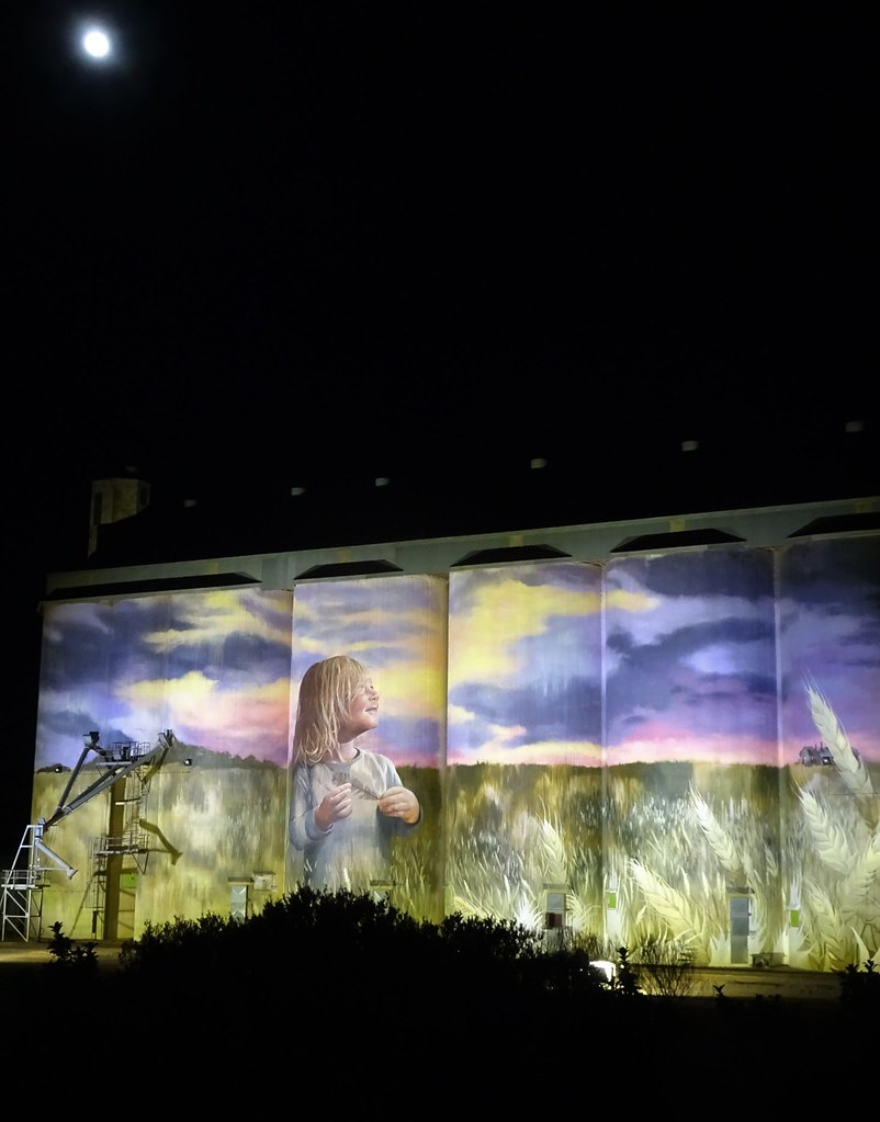 Kimba on Eyre Peninsula. A full moon and lights light up the Kimba silo art.