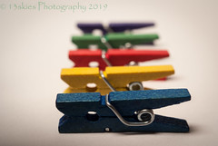 Clothespins #2 (HMM) (13skies) Tags: clothespins macro colours colors macromondays macroscopic clothes small tiny depthoffield shallow wooden sonyalpha100 inarow happymacromondays