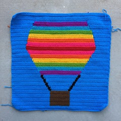 The first completed panel of my hot air balloon yarn bomb (crochetbug13) Tags: crochet crocheted crocheting yarnbomb crochetyarnbomb crochethotairballoon crochetballoon