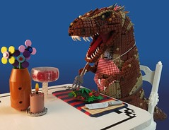 Veggiesaurus, Lex, Veggiesaurus! (Greeble_Scum) Tags: lego moc dinosaur tyrannosaurus rex jurassic park veggiesaurus vignette