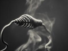 Handle and smoke (citrusjig) Tags: fujifilm xt1 automamiyasekor55mmf18 handle woodheater smoke blackandwhite toned