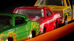 3 Car Pile Up (JLDMphoto) Tags: macromondays allinarow focusstack macro nikon d7200 tokina tokina100mmf28atxprod matchbox hotwheels toys green red yellow orange