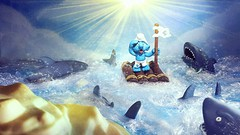 Ooh SMURF IT! (custombase) Tags: schleich thesmurfs smurf raft figure island ocean stranded shipwrecked castaway sharks danger toyphotography