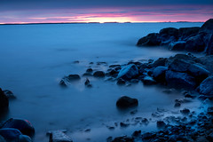 Totally blue (Mika Lehtinen) Tags: blue red sky water sea longexposure cold night late lowlight stone rocks cliff beach finland fall nikon d750 sigma 50mm nature