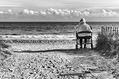 the old Woman and the sea (johann walter bantz) Tags: flickrunitedaward blackdiamond rollstuhl zeiss 55mm sonyilce7rm3 seul alone blackwhite ocean woman beach mer sea