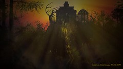 TRAIL-TO-THE-WITCH-HOUSE (Chance Dreamscape) Tags: haunted headstones halloween all saints day samhain hallows eve trail hauntedtrail forest hauntedforest ghost banshee revenent photorealism photoshop spookyscene hauntedscene witchhouse hauntedhouse houseonthehill