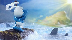 Finally I Smurf LAND! (custombase) Tags: schleich smurf thesmurfs figure stranded shipwrecked castaway island ocean danger sharks toyphotography raft