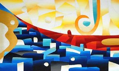 """Jodhpur"", Acrylic on pieces of corrugated cardboard joined together. 18""x30"". #art #cardboard #sanjaydhawan #abstract #abstractart #abstractpainting #creative #abstractartist #originalart #colorful #beautiful #follow #color #amazing #followme #instagood (chiselart@ymail.com) Tags: sanjaydhawan instagood abstractart art abstractpainting color abstractartist originalart abstract follow creative beautiful amazing artoftheday multimedia recycled followme contemporary modern cardboard ratedmodernart colorful"