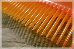 row of teeth ;) (green_lover (your COMMENTS are welcome!)) Tags: comb plastic row shadows macromondays inarow macro orange frame diagonal