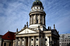 French church (thomasgorman1) Tags: church french architecture historic nikon germany berlin travel sightseeing gendarmenmarkt square statues dome baroque
