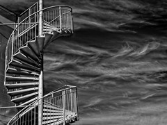 Fire Eskyscape (Steve Brewer Photos) Tags: iceland reykjavik fireescape cirrus cloud clouds skyscape blackandwhite monochrome