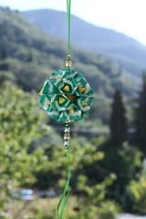 Cristallina kusudama (ronatka) Tags: kusudama modularorigami square andreyhechuev green corfu foldedwhentraveling withbeads ef50mmf14usm