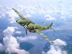 """1:72 Messerschmitt Me 309 T-2; """"Gelbe 12"""" of the 9./JG 1, Deutsche Luftwaffe; Husum, late 1945 (Whif/kitbashing) (dizzyfugu) Tags: 172 blohm voss bv p194 p197 messerschmitt 309 262 bmw 003 asymmetrical fighter weird luft 46 1946 luftwaffe fictional aviation airplane plane huma me revell kitbashing conversion modellbau dizzyfugu whif whatif husum jg jagdgeschwader 1"""
