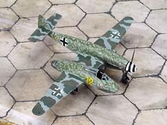 """1:72 Messerschmitt Me 309 T-2; """"Gelbe 12"""" of the 9./JG 1, Deutsche Luftwaffe; Husum, late 1945 (Whif/kitbashing) (dizzyfugu) Tags: 172 weird fighter bmw voss asymmetrical 003 blohm 262 bv 309 messerschmitt p194 p197 me plane airplane conversion aviation luft huma 46 1946 fictional luftwaffe revell kitbashing 1 jg whatif husum modellbau whif jagdgeschwader dizzyfugu"""
