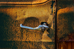 Keyless... (Siggi007 - Being away at work next week) Tags: door rust rusty handle closeup chrome light shadow focus cardoor lines holes old fordtransit closed artistic details canoneos6d colors car auto abandoned