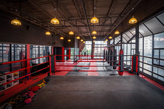 Kickboxing gym (anekphoto) Tags: muy thai sport fight boxing kick fighting fit club kickboxing workout indoor rope hall arena pole view modern place nobody contest battle square gym empty ring background health equipment training stage match corner professional platform game room area floor fitness interior box healthy fist exercise bag wrestling ropes dark light