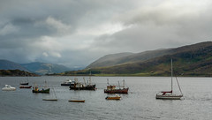 Loch Broom. (Go placidly amidst the noise and haste...) Tags: scotland lochbroom ullapool fishingboat loch hill mountain mist misty clouds cloudy