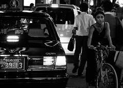 Higashishinsaibasi, Osaka, Japan (Gonzalo Aja) Tags: higashishinsaibasi osaka japan japon nihon chuoku city ciudad street calle streetview cityscape citylife women mujer girl japanesestyle toyota crown portrait retrato bycicle bici blackandwhite blancoynegro bw nikon d750