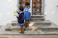 Schools Out, Pondicherry (Geraint Rowland Photography) Tags: schoolsinindia india indiantravel frenchindia schoolsout pondicherry wwwgeraintrowlandcouk streetportraits streetphotography stairs urban school schooluniform childportraits indianchildren travelwithgeraintrowland