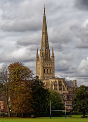 Norwich cathedral. (S.K.1963) Tags: norwich cathedral norfolk rugby landscape sky clouds trees england olympus omd em1 mkii 12100mm f4