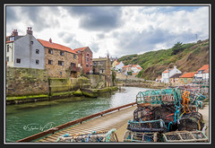 SJ2_1692 - Staithes, North Yorkshire, UK (SWJuk) Tags: swjuk uk unitedkingdom gb britain england yorkshire northyorkshire yorkshirecoast coast coastal seaside village fishingvillage staithes staithesbeck tidal harbour lobsterpots houses hillside hills redrooftiles clouds cloudy light sunlight 2019 sep2019 autumn holidays nikon d7200 nikond7200 nikkor1755mmf28 rawnef lightroomclassiccc