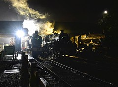 Great Central Railway Loughborough Leicestershire 6th October  2019 (loose_grip_99) Tags: greatcentral railway gcr railroad rail train loughborough leicestershire eastmidlands england uk preservation transportation steam engine locomotive southern drummond t9 440 30109 night time nighttime darkness shadows shed mpd depot britishrailways standard5 460 73156 lms stanier black5 45305 5305la smoke gassteam uksteam trains railways autumn gala october 2019