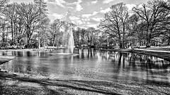 Park in Bad Homburg (rainerpetersen657) Tags: blackandwhite bw blancoynegro monochrome badhomburg hessen germany alemannia park water trees nature fountain sony sonyalpha fakehdr
