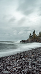 Hollow Rock (Lzzy Anderson) Tags: hollowrock northshore upnorth 2019 october autumn fall lakesuperior lake water waves greatlake rock tree storm rain clouds stormclouds windy overcast beach resort longexposure