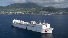 USNS Comfort is anchored off the coast of Basseterre, St. Kitts and Nevis.