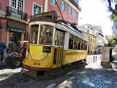 Lisbon Street Cars (moonjazz) Tags: lisbon trolley portugal travel yellow bonde transportation europe railway oldtown color vivid picturesque photography city history fun poster adventure daytrip tourist