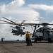 A CH-53E Super Stallion takesoff from the flight deck USS Boxer (LHD 4) during Tiger Strike 2019.