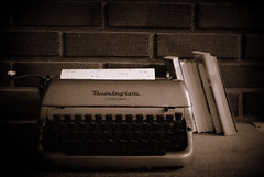 The typewriter (Bjarni53) Tags: typewriter books sepia norway typing letter pages paper brick bricks nikon d3000 kit lense 1855 dslr page classy oldschool old 60s stone cold norwegian photography retro livingroom beauty writer writing letters