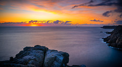 Sunglow (dkphotographs) Tags: cornwall cornishcoast landscape sky coast sea atlanticocean england greatbritain waves longexposure sonyalpha7 nature sunset sun clouds summer sonyalpha british evening ocean atlantic summertime water sundown cliffs pano southwestcoastpath landsend lighthouse glow seascape coastline