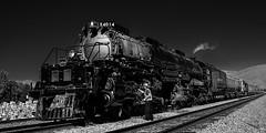 02469376422981-117-19-10-Union Pacific Big Boy Locomotive-6-Black and White (Don't Mess With Jim) Tags: 2019 america bigboy calientenevada fujifilmxt30 fujifilmxf1855mmlens octover southwest train usa unionpacific locomotive rail steam tracks monochrome blackandwhite